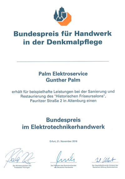 Bundespreis bei Palm Elektroservice in Altenburg